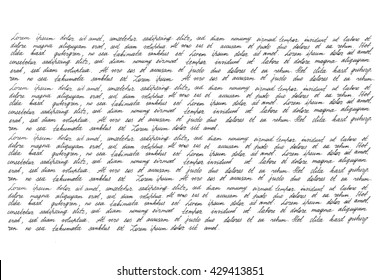 Calligraphic handwritten script. Handwriting. Manuscript. Script. Font. Latin text Lorem ipsum. Abstract texture background
