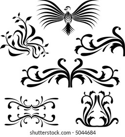 Calligraphical figures created for registration of pages, books, diplomas.
