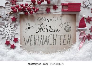 Calligraphy Froehliche Weihnachten Means Merry Christmas, Snow