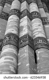 Calligraphy and intricate design on Qutub Minar