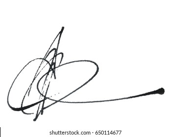 Calligraphy signature, handwritten with fountain pen, black lettering isolated on white background