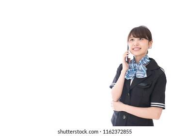 Calling flight attendant