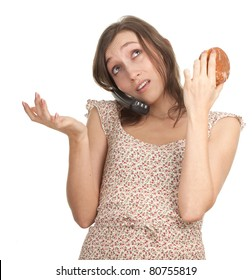 calling young woman in bright dress with cake