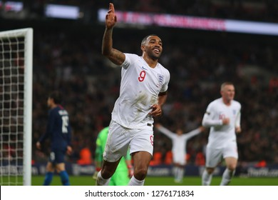 Callum Wilson of England celebrates after scoring the third goal, putting England 3-0 ahead - England v United States, International Friendly, Wembley Stadium, London - 15th November 2018