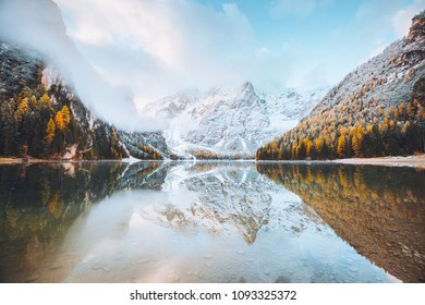 Calm alpine lake Braies (Pragser Wildsee). Location Dolomiti, national park Fanes-Sennes-Braies, Italian Alps, Europe. Scenic image of most popular tourist attraction. Discover the beauty of earth.