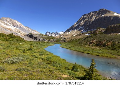Calm Blue Brazeau River Water on a Green Alpine Meadow and Distant Canadian Rocky Mountains Landscape in Jasper National Park Wilderness, Alberta