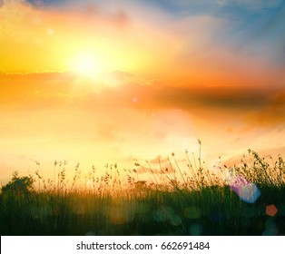 Calm day concept: Country field of mountain early morning on sky sunrise background