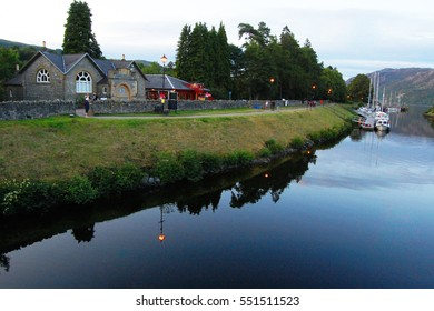 Calm evening on Caledonian canal in Fort Augustus village with the view of Loch Ness
