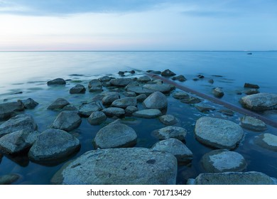 Calm evening on the rocky shore of the Baltic sea. Tranquility. Relax.
