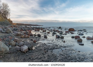 Calm evening on the seacoast. Lots of granite stones.