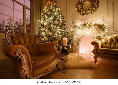 Calm image of interior Classic New Year Tree decorated in a room with fireplace