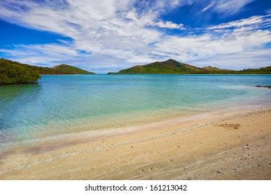 A calm inlet between islands in the Yasawa island group of Fiji.