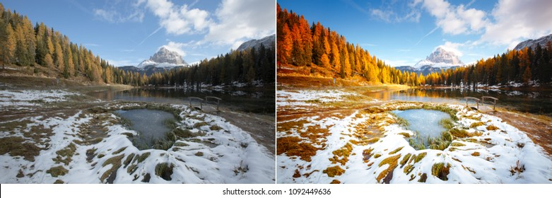 Calm lake Antorno in National Park Tre Cime di Lavaredo. Location Dolomiti alps, Italy, Europe. Images before and after. Original or retouch, example of photo editing process. Beauty of earth.