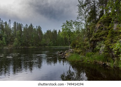 Calm Lake during a trail in the forest of Finland