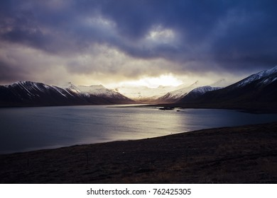 Calm Lake in the middle of the Icelandic Fjords