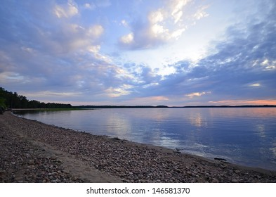 Calm lake in midnight light