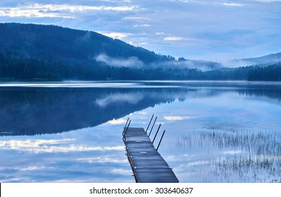 calm lake on a late evening