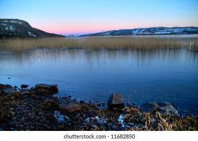Calm lake scenery from Lapland in the north of Sweden