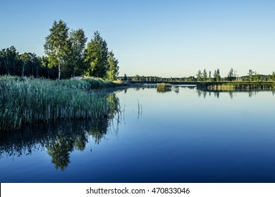 Calm lake water in the morning