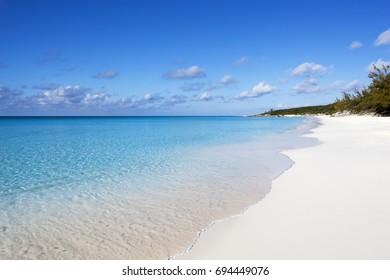 Calm morning on Half Moon Cay uninhabited island beach (The Bahamas).