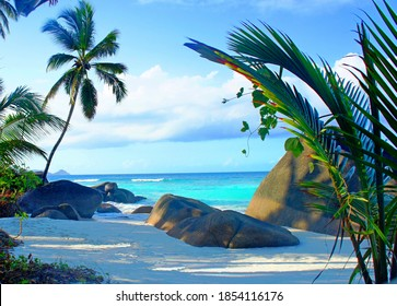 Calm morning on paradise island white sand tropical palm beach, blue turquoise waves of Indian ocean, granite stones and rock formation on  shore, Beautiful exotic nature for relaxation and happiness.