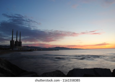 Calm morning in Sant Adria beach