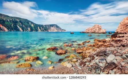 Calm morning scene of Cephalonia Island, Greece, Europe. Sunny seascape of Mediterranen Sea. Stunning outdoor scene of Ionian Islands. Bright summer view of empty Petani Beach.