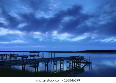 """""""Calm Night"""" Well after sunset on the Colleton River tidal estuary in Beaufort County SC."""