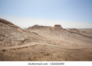 Calm outback in the salt and sand desert of Iran. Great landscapes in a very dry and hot wasteland.
