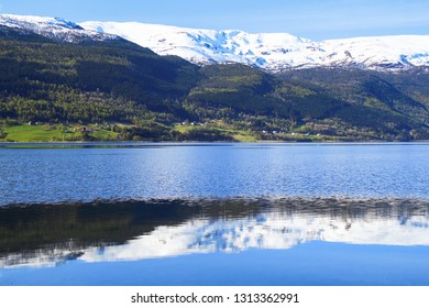 calm and peaceful landscape and reflection in water. Landscape of Voss, situated in the middle of Fjord Norway.