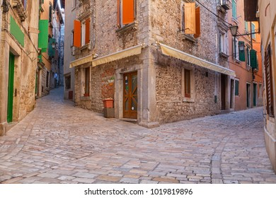 Calm, peaceful little tight narrow streets and colorful houses of Rovinj town in Croatia Europe