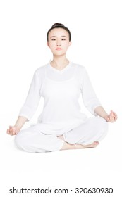 calm pretty woman doing yoga exercise. isolated on white background