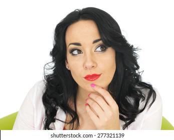Calm Relaxed Thoughtful Pensive Beautiful Young Hispanic Woman in Her Twenties