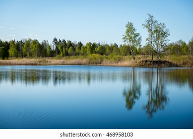 calm river in forest with reflections and trees on both sides of the stream - Shutterstock ID 468958103