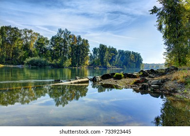 Calm river on a late summer morning.