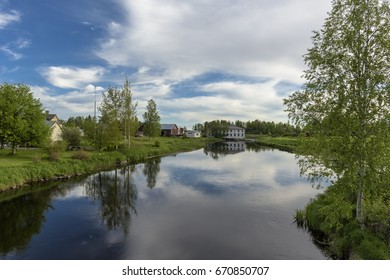 Calm river scenery in nordic countryside