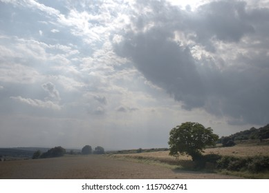 Calm rural scene with cloudy sky