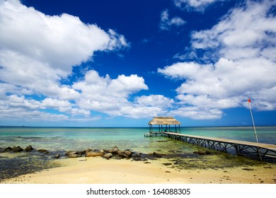 Calm scene with jetty and ocean in Mauritius Island