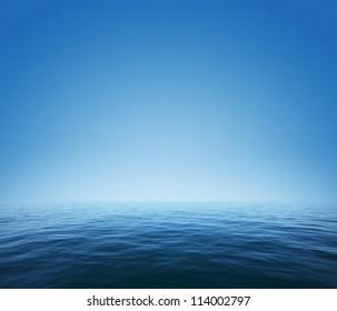 Calm sea and blue clear sky
