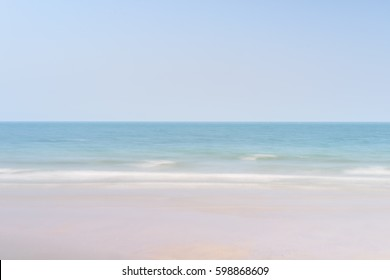 calm sea with only sand, sea, and sky, in Hua Hin, Patchaburi, Thailand