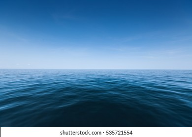 Calm sea surface with waves at sunny day