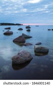 Calm sea view in the blue hour at the Baltic sea coast, Estonia