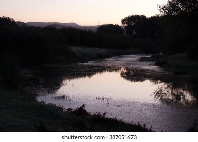 A calm small lake at dawn and tree shilhouttes.