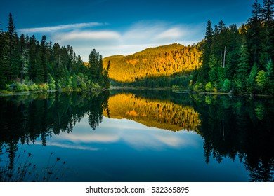 Calm Sunset Reflection Toketee Lake Umpqua River Oregon