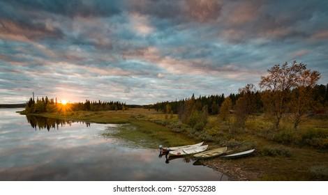 Calm Sunset in Swedish Lapland