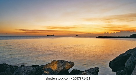 Calm tropical waters at sunset near Freeport, Bahamas