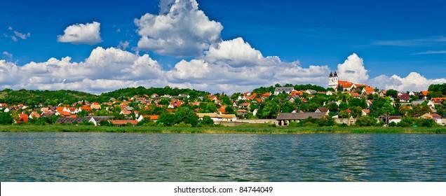 Calm village landscape panorama at lake Balaton in Tihany