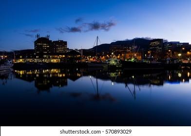 Calm waterfront at dawn in Hobart, Tasmania, Australia