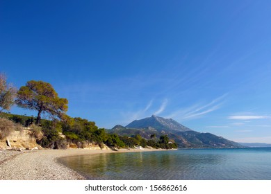 Calm waters of the Corinthian Gulf. View from the coast of Skaloma at the Geraneia Mountains.