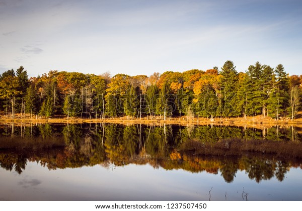 The calm waters of Lily Lake near Port Carling, Ontario provide a nice reflection as the sun sets on an autumn evening.